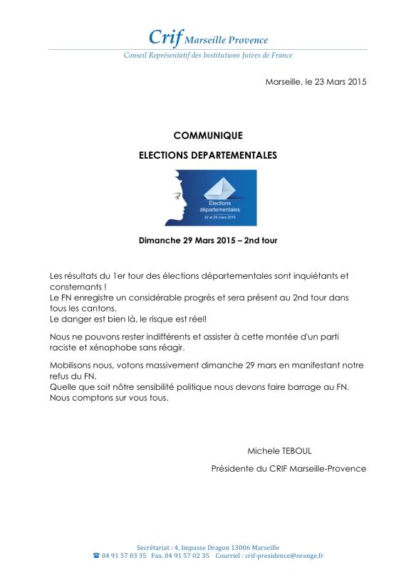 Communique Elections départementales 2015 : 2nd Tour
