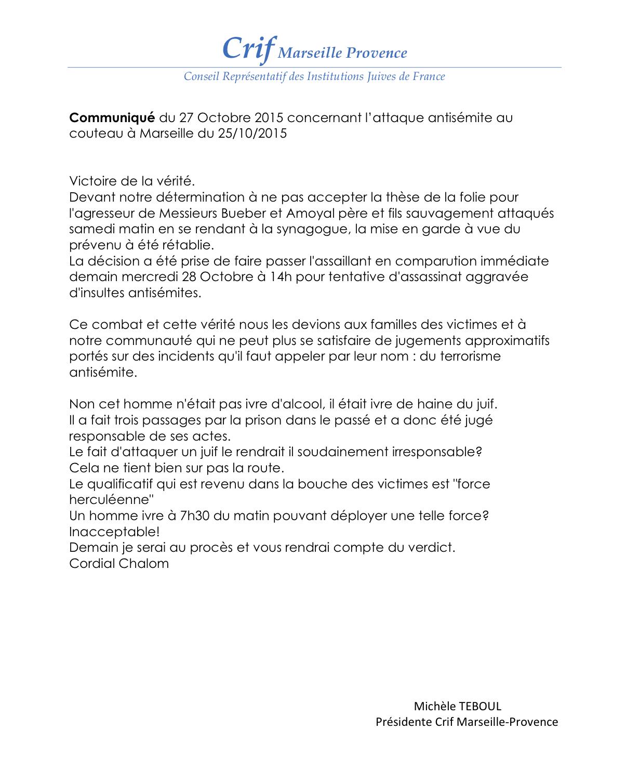 Communiqué Crif Marseille-Provence : Attaque au couteau comparussion immédiate